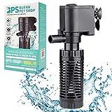 BPS Bomba Sumergible para Acuario con Filtro 6W 600L/H Bomba de Agua Filtrador Tanque para Pecera Estanque Hidropónico 16x8 cm BPS-6079