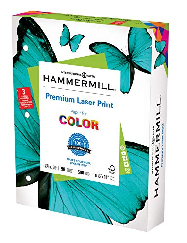 Hammermill Printer Paper, Premium Laser Print 24 lb, 3 Hole - 10 Ream (5,000 Sheets) - 98 Bright,...