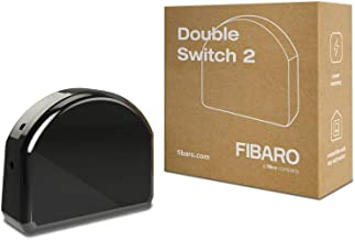 FIBARO Dubbele Schakelaar 2 / Z-Wave Plus Relaisschakelaar, Draadloze Aan / Uit-Trigger, FGS-223, Zwart