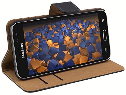 mumbi Echt Leder Bookstyle Hülle kompatibel mit Samsung Galaxy J3 2016 Hülle Leder Tasche Hülle Wallet, schwarz