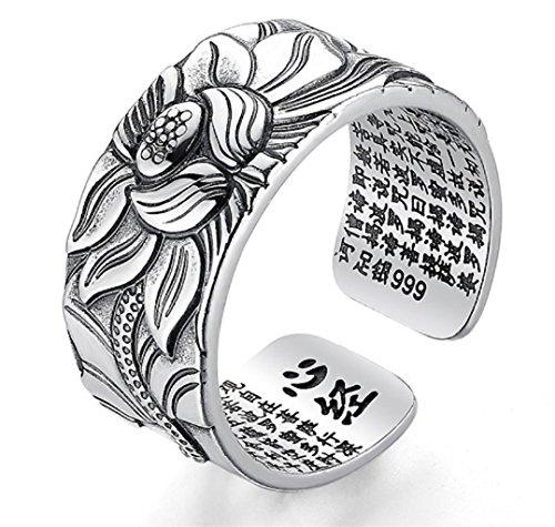 Ring Sutra des Lotus in Silber verstellbar