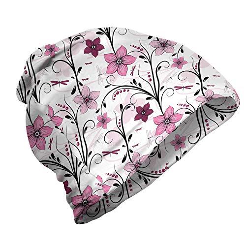 ABAKUHAUS Libelle Unisex Beanie, Shabby Pflanze Röschen, Wandern im Freien, Blassrosa Getrocknete Rose