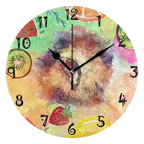 LDIYEU Arte Colorido León Fruta Reloj de Pared Silencioso Decorativo Madera Vintage Relojs para Niños Niñas Cocina Dormitorio Hogar Oficina Escuela Decoración