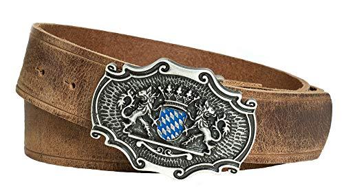 Enzianblau Echtleder Gürtel; Trachtengürtel; Bayerwappen blau-weiß und bayer. Löwen, Gürtel passend zur Lederhose (110)