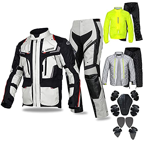 LITI Motorradkombi Damen 2teilig Mit Protektoren Sommer Textil Motorradjacke + Motorradhose Für Roller Biker Touren