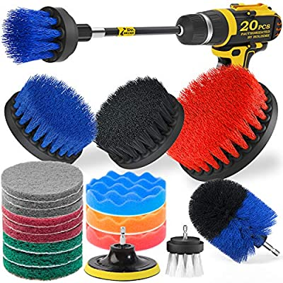 Holikme 15Piece Drill Brush Attachments Set, Blue Scrub Pads & Sponge, Power Scrubber Brush with Extend Long Attachment All Purpose Clean for Grout, Tiles, Sinks, Bathtub, Bathroom, Kitchen & Autom