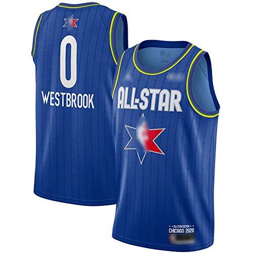 ATI-HSKJ 2020 All-Star Basketball-Trikots # 0 Russell Westbrook Fans Männer Basketball Westen Blau Neue Breathable Sweatshirt Jersey BH182,XL:180cm~185cm