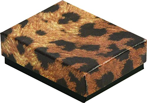 888 Display - Pack of 10 Boxes of 5 3/8' x 3 7/8' x 1'H Leopard Print Cotton Filled Jewelry Boxes