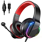 bopmen S200 Gaming Headsets, USB Headset with 7.1 Surround Sound and RGB Light, Stereo Sound Over...