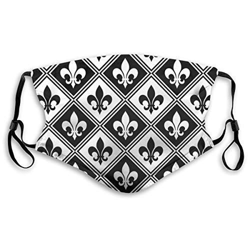 Moda cara cubierta a prueba de sol moda Bandana Headwear para hombres y mujeres-negro flor de lis y diamante patrón