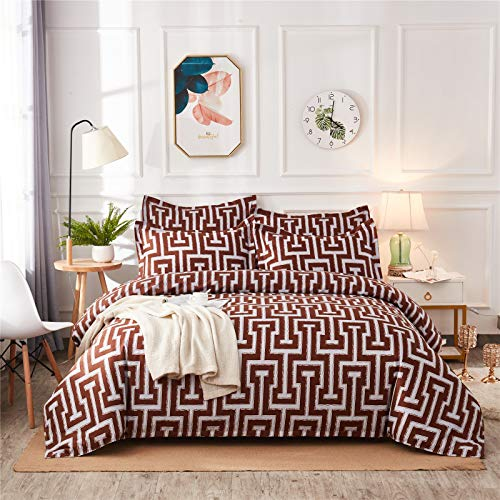 YYSZM Textiles para El Hogar Funda Nórdica Ropa De Cama Patrón Geométrico De Lilo Ambiente Simple Juego De 3 Piezas Suave Y Cómodo 260x230cm