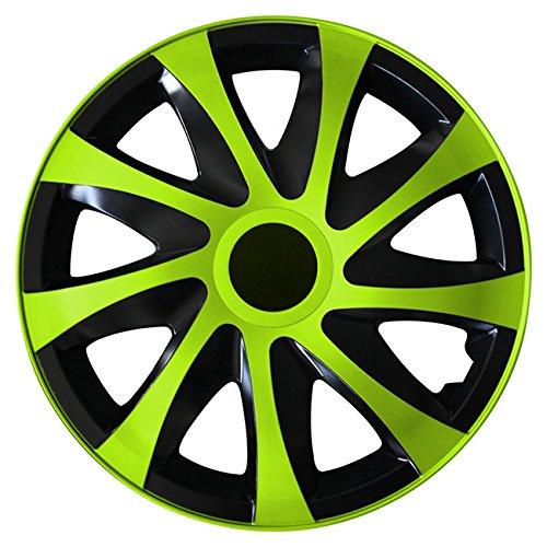 (Größe wählbar) 15 Zoll Radkappen / Radzierblenden DRACO Bicolor (Schwarz-Grün) passend für fast alle Fahrzeugtypen – universal