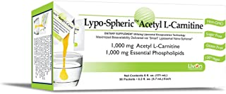 Lypo–Spheric Acetyl L–Carnitine – 30 Packets – 1,000 mg Acetyl L–Carnitine & Essential Phospholipids Per Packet – Liposome Encapsulated for Improved Absorption – 100% Non–GMO