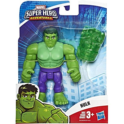 Hasbro Playskool- Heroes The_Avengers Marvel Super Hero Adventures - Hulk (action figure da 12,5 cm), Multicolore, E6258ES0