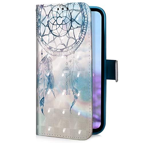 Uposao Kompatibel mit Samsung Galaxy A50 Handyhülle Glitzer Bling 3D Bunt Leder Hülle Flip Schutzhülle Handytasche Brieftasche Wallet Bookstyle Case Magnet Ständer Kartenfach,Dreamcatcher