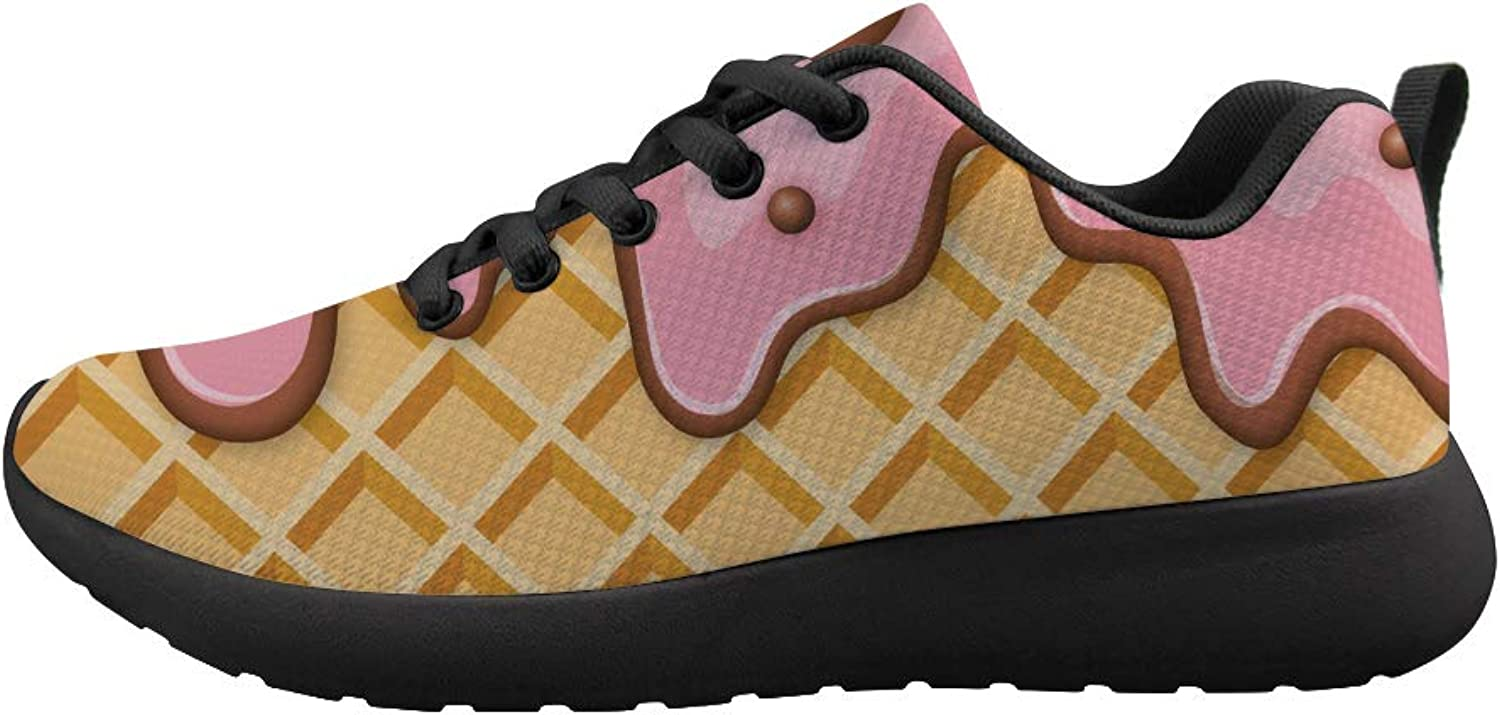 Owaheson Cushioning Sneaker Trail Running shoes Mens Womens Melting Strawberry Ice Cream Waffle Plaid Pattern