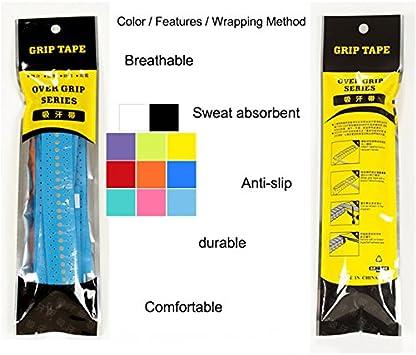 Amazon Com Raqueta Grip Cinta Anti Slip Overgrip De Tenis Perforado Para Racquetball Grip Raqueta De Squash Raqueta De Bádminton Para Bicicleta Bar Sports Outdoors