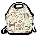 Sitear - Bolsa térmica para el almuerzo, neopreno, reutilizable, grande, impermeable, para viajes al aire libre, trabajo, diseño de perro de dibujos animados
