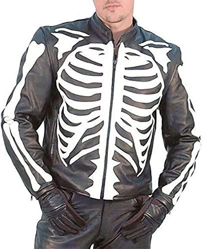 Chaqueta de cuero para hombre con diseño de esqueleto y hueso