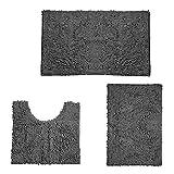 FLAMEER 3 Piezas de Juegos de alfombras de baño Ultra Suaves Antideslizantes alfombras de baño absorbentes de Lujo peludas alfombras de baño para bañera Ducha - Gris Oscuro