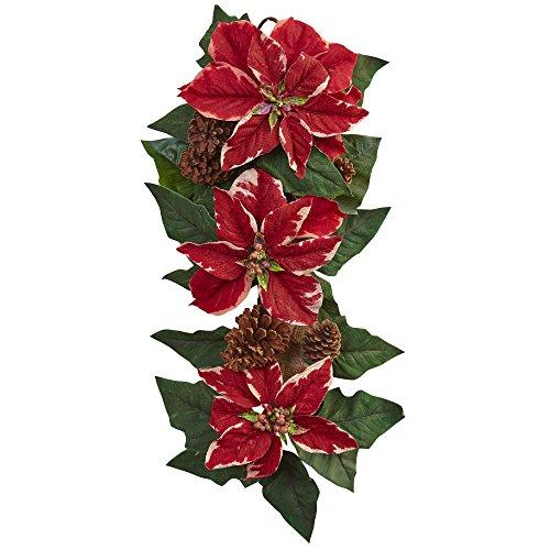 "Nearly Natural Poinsettia, Pine Cone & Burlap Teardrop Wreath, 25"""