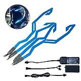 Womdee, luce per casco da moto, 4 pezzi, impermeabile, per guida notturna a LED, striscia lampeggiante e striscia di sicurezza