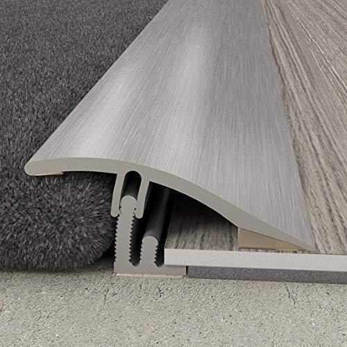 Übergangsprofil 38 x 10,23 mm | Aluminiumprofil 2 in 1 | Übergangsleiste Ausgleichsprofil Abschlussprofil Höhenausgleich Aluprofil Silber 930 mm