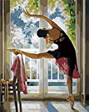 Pintura DIY por Números Vestido De Ballet Negro Adultos Niños Pinceles y Pinturas Pintar por Numeros Lienzo Regalo Decoraciones Para el Hogar 40 x 50cm (Sin Marco de)