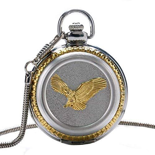 LYMUP Reloj de Bolsillo, Cadena de Hueso de Serpiente 3D Patrón de águila águila de Oro 3D Reloj de Cuarzo de Plata Fresco,Vapor (Color : Silver)