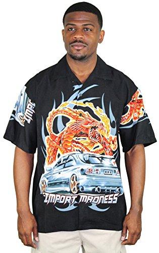 Moda Essentials Assorted Men's Short Sleeve Dragon Button Up Shirt Blk Sz M