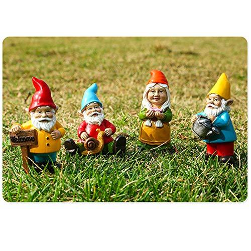 lefeindgdi Gartenzwerg-Ornamente, 10 Stück, Zwerg-Tiere für Hof, Rasen, Terrasse, Veranda, Garten, Dekoration, Innen- und Außenbereich
