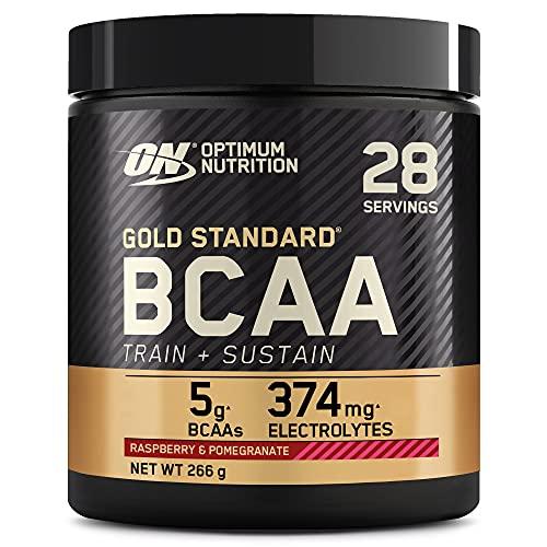 Optimum Nutrition Gold Standard BCAA Polvo, Suplementos Deportivos con Aminoacidos, Vitamina C, Zinc, Magnesio y Electrolitos, Frambuesa y Granada, 28 Porciones, 266g, Embalaje Puede Variar
