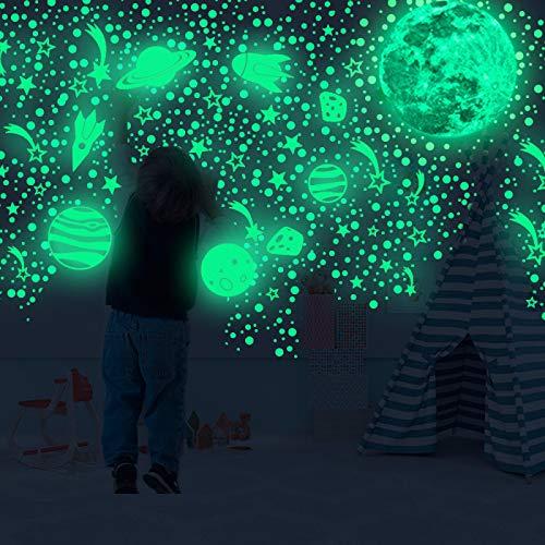 DHHY Pegatinas De Pared Fluorescentes De Planeta Luna, Sala De Estar Dormitorio Decoración De Estrellas Pequeñas Pegatinas De Pared Luminosas