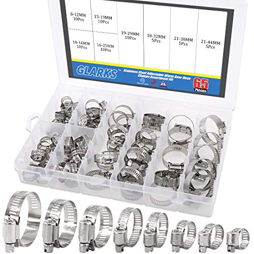Glarks 65-Pieces 304 Stainless Steel Adjustable 8-44mm Range Worm Gear Hose Clamps Assortment Kit, Fuel Line Clamp for Water Pipe, Plumbing, Automotive and Mechanical Application