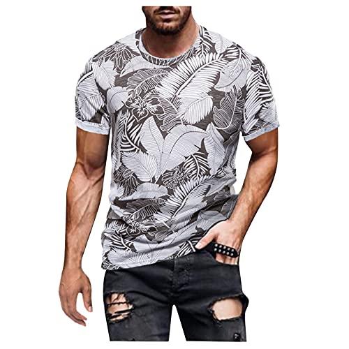 T-Shirts Short Sleeve Blouse Men's Summer Short Sleeve Printed Retro Shirt Muscle Shirt Slim Fit Basic Tee - - XXXL