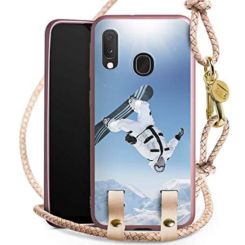 DeinDesign Carry Case kompatibel mit Samsung Galaxy A20e Handykette rosé Gold Handyhülle zum Umhängen Berg Snowboard Winter