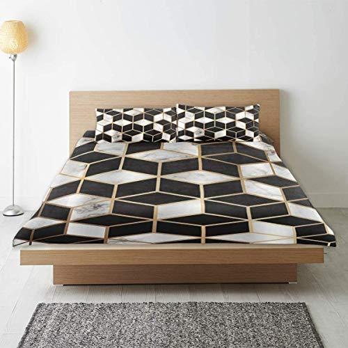 Funda nórdica, líneas geométricas doradas y cubos Impresión de estilo de lujo moderno Interior de superficie de mármol blanco y negro, con 1 funda nórdica y 1 funda de almohada, ropa de cama universit