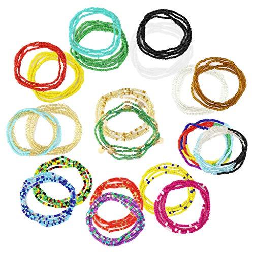 20 Pieces Elastic Waist Beads Body Chains Summer Jewelry Beads Chains African Waist Beads for Women Colorful Waist Belly Beads Chain Waist Beads Body Necklace Bracelet for Women Girls Weight Loss