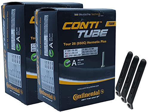 pneugo! Continental 37-559/50-559 - Juego de 2 cámaras de aire para bicicleta (26', válvula Tour Hermetic Plus) + 3 desmontadores