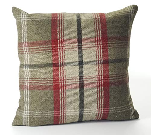 Cuthbert and Black Highland Mist Tartan 16in x 16in Cushion Cover in Red