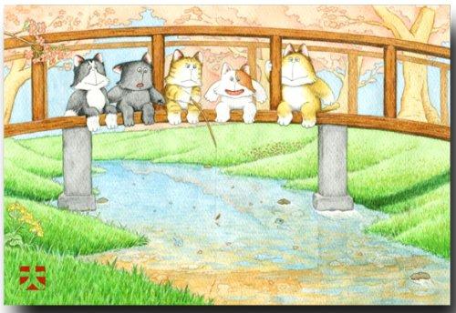 猫の絵葉書にゃんず 「魚釣り」 ほのぼのポストカード 和道楽