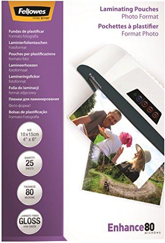 Fellowes - Pack de 25 fundas de plastificar, 150 x 100 milimetros, 80 micras