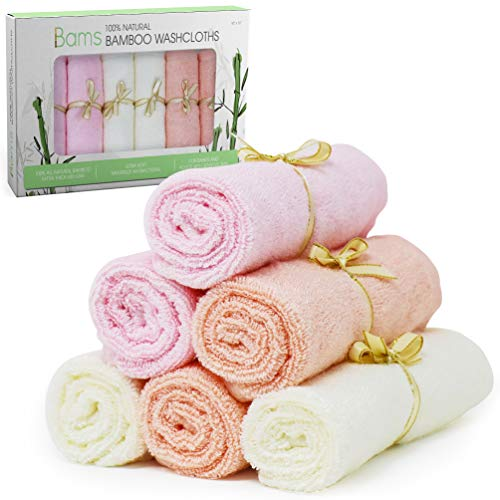 BAMS Luxury 100% Bamboo Baby Washcloths- 2X Thicker Extra Soft Face Wash Cloth Wipes Towels for Babies, Newborn, Infant, Adults with Sensitive Skin, Free Laundry Bag (Cream, Baby Pink, Baby Orange)