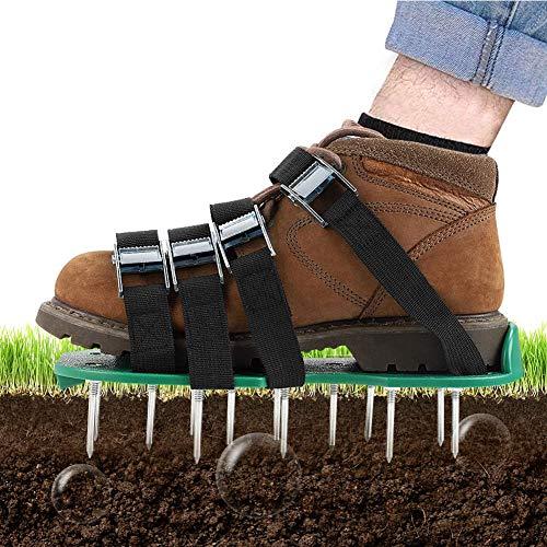 MHGLOVES Sandalias aireadoras de césped, zapatos aireadores de césped, zapatos aireadores de césped, 26 picos largos para airear el césped, jardín, hierba, tamaño universal (1 par)