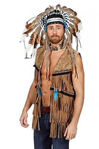 shoperama Fransen-Weste en Wildleder-Optik para Hippie y Indios señores Kostüm 70er 60er