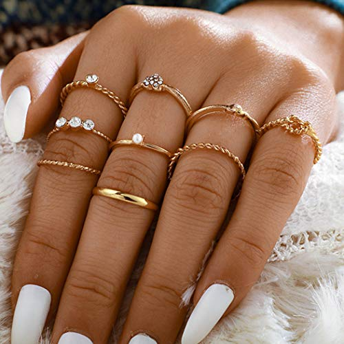 Ushiny Boho Pearl Fingerringe Gold Kristall Ring Set Herz Liebe geschnitzt Ringe Stapelbar Ring Schmuck Zubehör für Frauen und Mädchen (9 Stück)