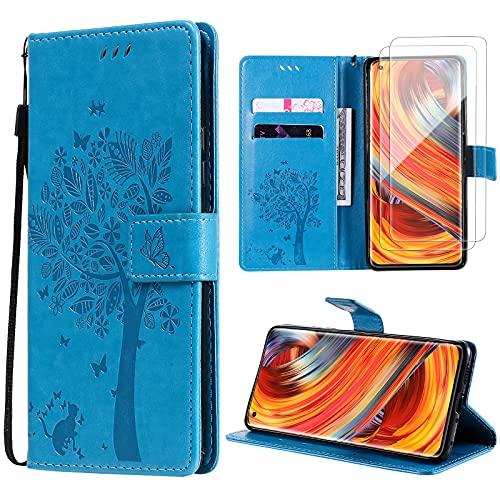 Oududianzi Funda para Xiaomi Mi 11 Lite + [2 x Protectore Pantalla] Cierre Magnético Flip Case PU Cuero Billetera Carcasacon Tapa Ranuras para Tarjetas y Soporte -Azul
