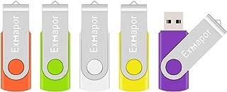5 X 16GB USBメモリ Exmapor USBフラッシュドライブ 回転式 五色(オレンジ、緑、白、黄、紫)5年保証