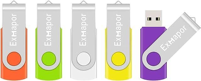 5 X 16GB USB Flash Drive, Exmapor USB Swivel Thumb Drives Bulk Storage Memory Stick LED Indicator, Orange/Green/White/Yellow/Purple (5PCS Mix Color, 16GB)