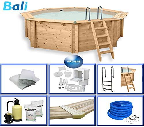 Holzpool Bali Premium Set inkl. Zubehör, Edelstahlleiter, Sandfilteranlage, Schwimmbad für den Garten, Badespaß für die ganze Familie, Achteck-Pool, 530 x 136 (Ø x H), Menge: 1 Stück